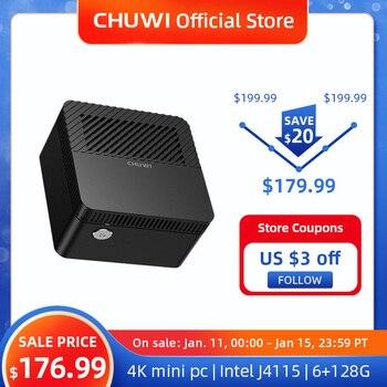 CHUWI LarkBox 4K Mini PC Intel Celeron J4115 Quad Core 6GB RAM 128GB ROM Windows 10 Desktop Computer HDMI USB-C