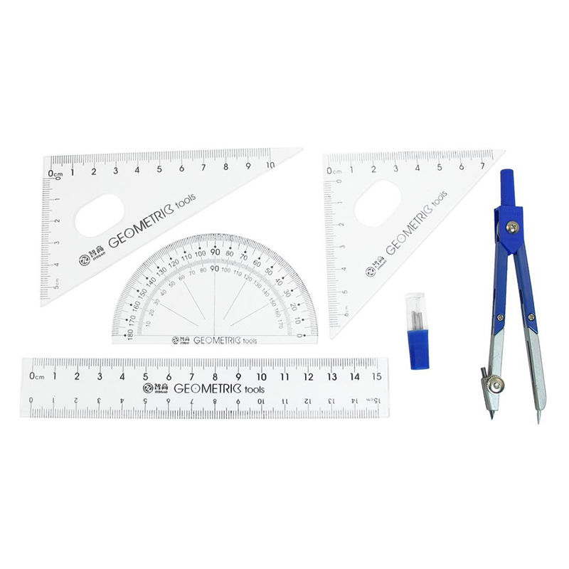 Office Blue Circle Set Right Angle Protractor 15cm Plastic Ruler