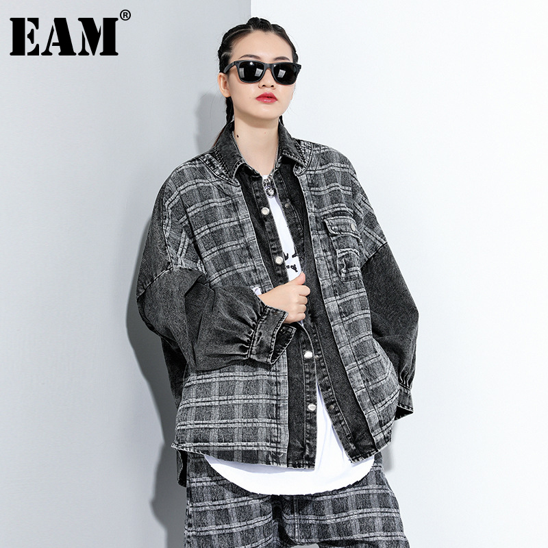 [EAM] Loose Fit Black Plaid Denim Big Size Jacket New Lapel Long Sleeve Women Coat Fashion Tide Spring Autumn 2020 1DA091 1
