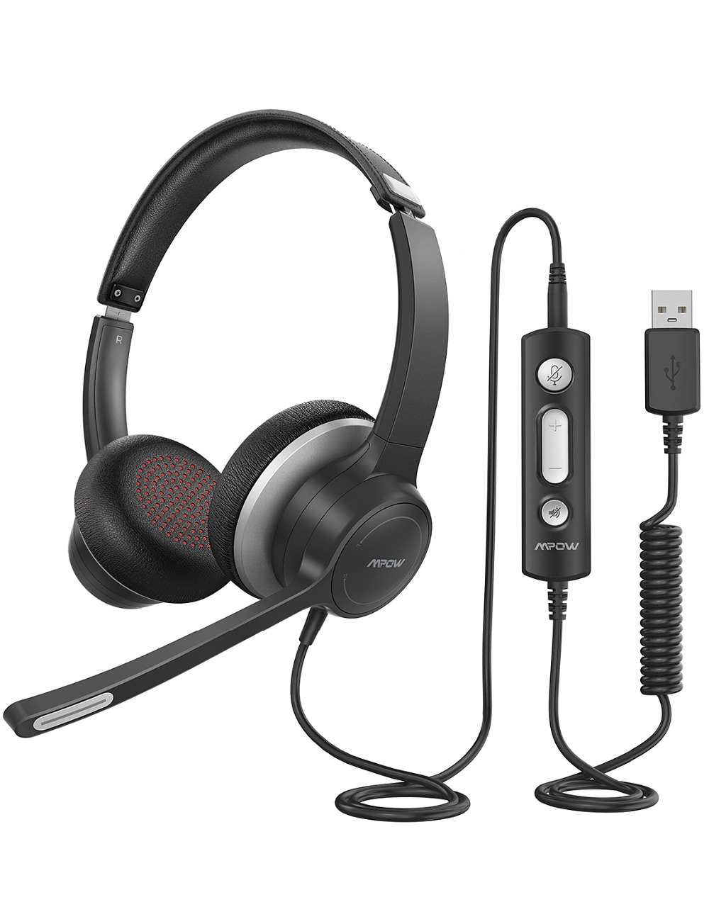 Mpow 328 Wireless Headphones USB 3.5mm Computer Headset With Microphone Noise Reduction Sound Card For PC Skype Call Center Mac (8)