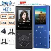 MP3 Player mit Bluetooth Bulit In Lautsprecher Metall Verlustfreie Musik-Player mit FM Radio, e-buch für Walkman Unterstützung TF Karte zu 128GB