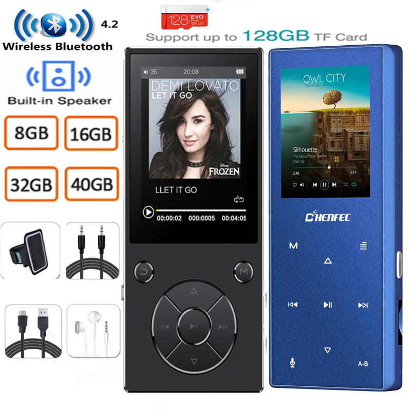 MP3 Player With Bluetooth Bulit In Speaker Metal Lossless Music Player With FM Radio,E-Book For Walkman Support TF Card To 128GB