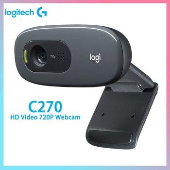 Logitech C270 HD Webcam Video 720P Gaming Auchor Live Broadcast Web Camera Built-in Micphone Network Video Camera for Windows new logitech hd webcam c310 camera hd 720p 5mp photos built in mic free bracket