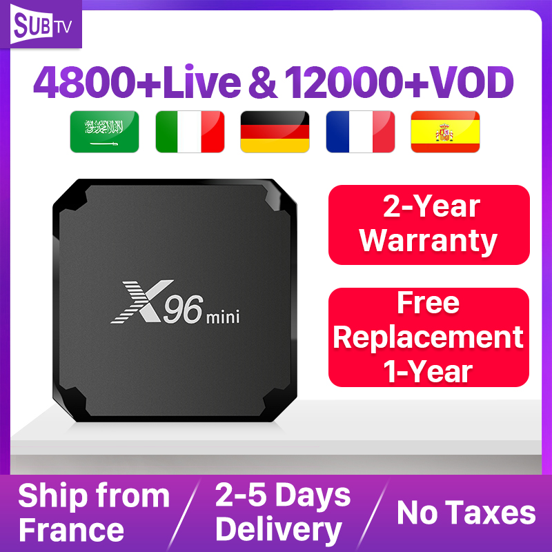 X96 Mini France IPTV récepteur Android 7.1 2GB 16GB Wifi 4K Support arabe belgique France Portugal turquie Italia IP TV