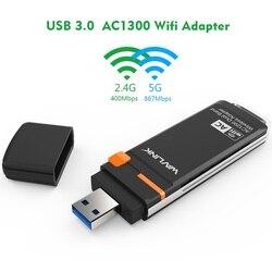 Wavlink AC1300 لاسلكي USB واي فاي محول 5GHz و 2.4GHz ثنائي النطاق USB واي فاي دونجل صغير محول بطاقة الشبكة مع WPS زر WDS AP