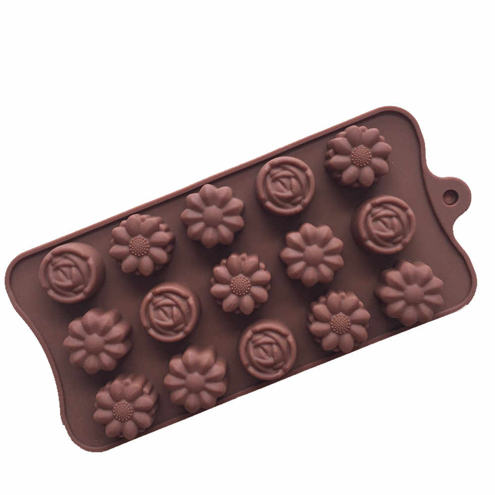 15 Grid Silicone Rose Flower Molde Kitchen Chocolate Cake Soap Ice Tray Baking Mold DIY Cookie Jelly Kids Handmade Mould Tools