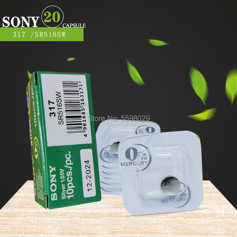 20PCS Sony Original 317 <font><b>SR516SW</b></font> D317 SR62 1.55V Single grain packing Watch battery button battery Silver oxide cell image