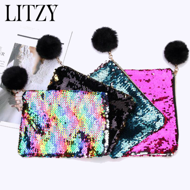 Reversible Sequin Hairball Pencil Case For Girls School Supplies  Stationery Big Pencil Box Multicolor Pencilcase Makeup Bag