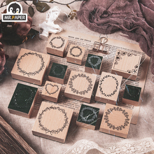 Mr.Paper 8 Designs Garland Series Wooden Rubber Stamps for Scrapbooking Decoration Planner DIY Craft Wooden Stamps Hand Account
