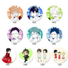 Volleyball Junior Badge 58 Mm Anime Haikyuu!! Brooches Button Badges Pins For Clothes Backpack Kenma Kiyoko Brooch(China)