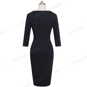 Image 3 - 素敵な 永遠にヴィンテージ黒と白のパッチワークオフィスワークvestidosビジネスパーティーボディコンエレガント女性秋ドレスB563
