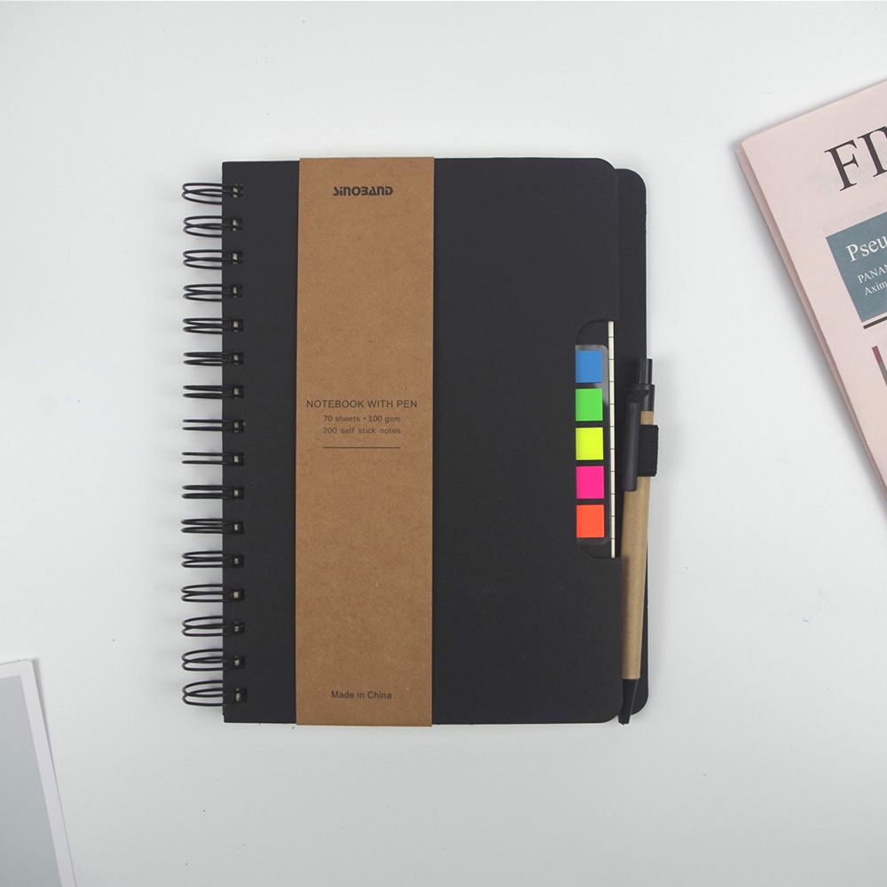 ZYWJUGE A5 Size Spiral Coil Multi-function Notebook Diary sticky notes notebook with pen holder Vintage Student School Supplies