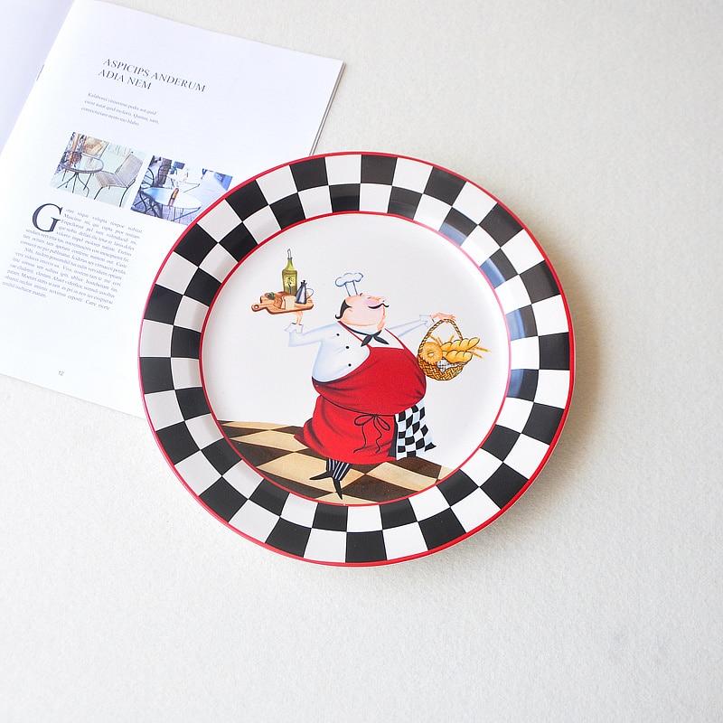 Assiette à dîner dessin animé vaisselle en céramique série Chef Illustration Style grand plat vaisselle assiette à Steak créative