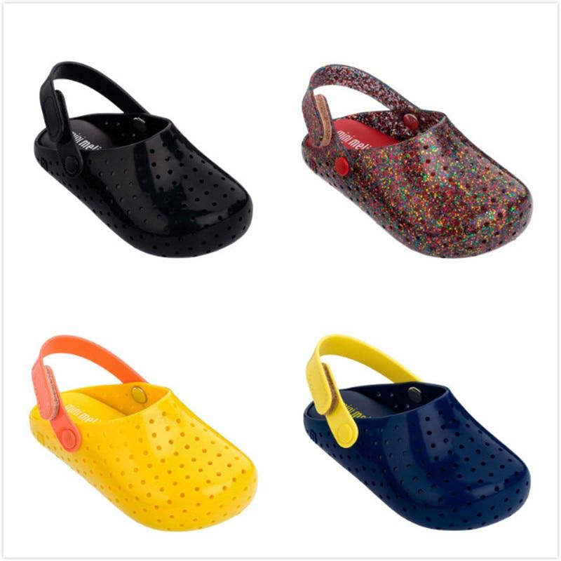 2020 Mini Melissa Girls Hole Sandals Fashion Slippers Children Beach Breathable Non-Slippery High Quality Summer Sandal MN018