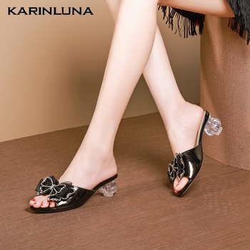 Karinluna Brand New Fashion Clear Heels Butterfly Bow Tie Genuine Leather Slipper Summer women's Shoes Sandals Pumps