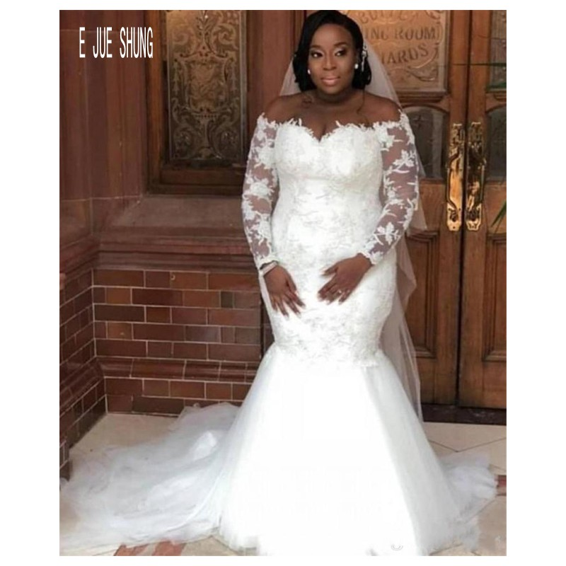 E JUE SHUNG Elegant African Mermaid Wedding Dresses Sheer Long Sleeve Bridal Gowns Lace Appliques Plus Size Wedding Gowns