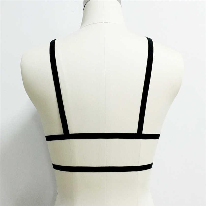 Kadın siyah gotik esaret demeti kemer açık göğüs seksi iç çamaşırı fetiş giyim vücut demeti kafes sütyen Harajuku koşum sutyen J50