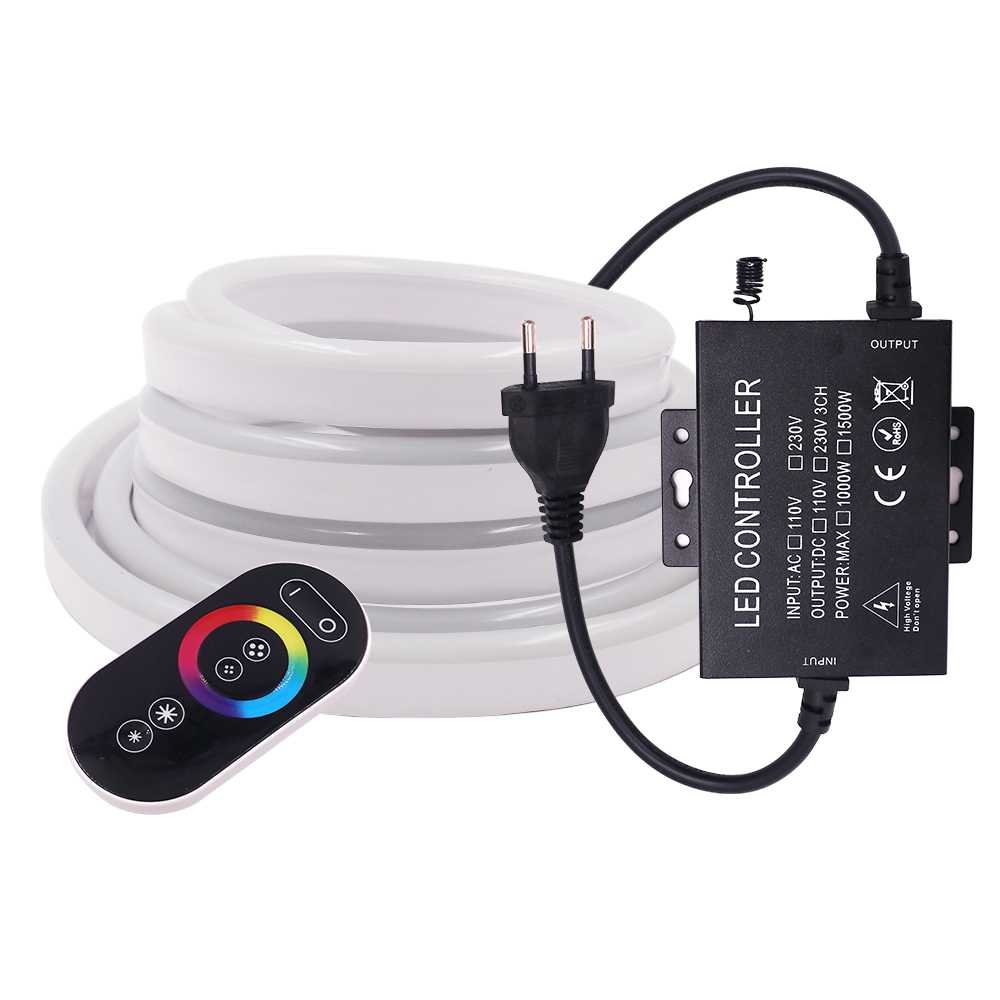 220V 5050 RGB Neon Strip LED Light Full Touch Remote Control Rope Light 8x16mm Waterproof IP67 Flexible Tape Outdoor Decoration