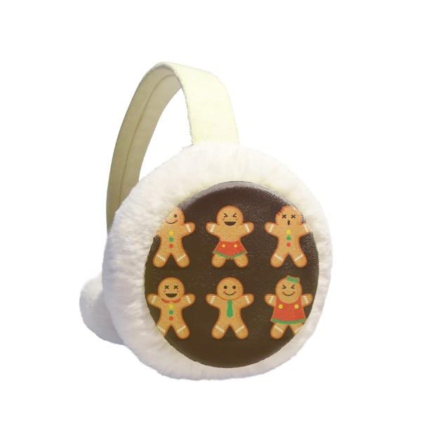 Gingerbread Cookie Men Christmas Winter Earmuffs Ear Warmers Faux Fur Foldable Plush Outdoor Gift