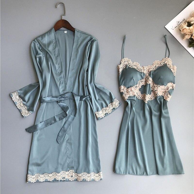 Sexy 2pcs Chinese Female Rayon Robe Set Nightwear Lace Trim Sleepwear Kimono Bath Gown Bride Bridesmaid Wedding Robes Dress