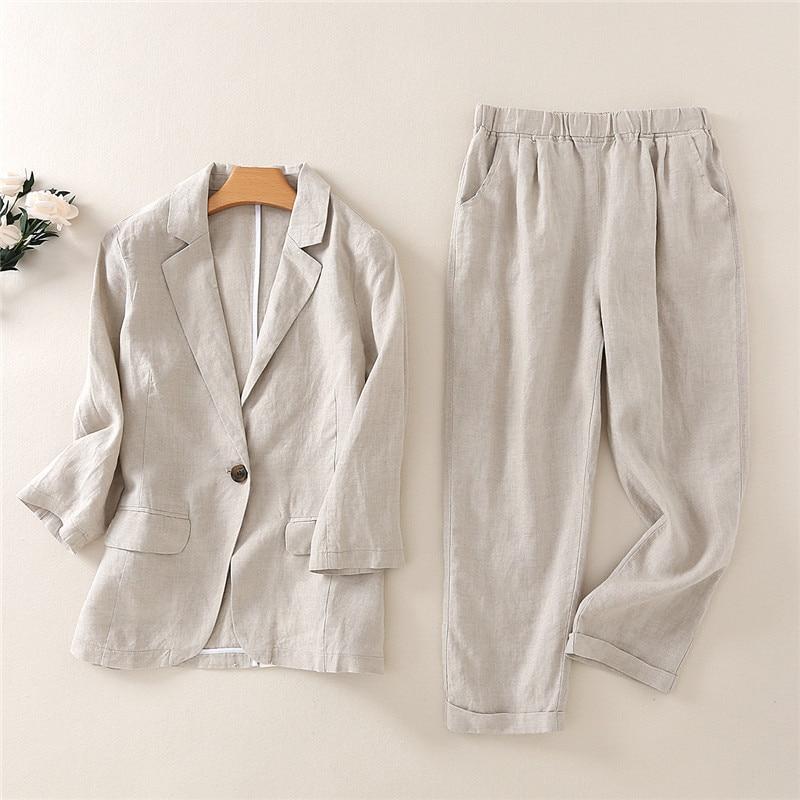 Traje temperamento de algodón y lino para mujer, pantalones de nueve puntos informales a la moda, traje de lino, trajes de 2 piezas