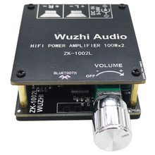 ZK 1002L 100WX2 Mini Bluetooth 5.0 Wireless Audio Power Digital Amplifier Board Stereo Amp DC 12V 24V