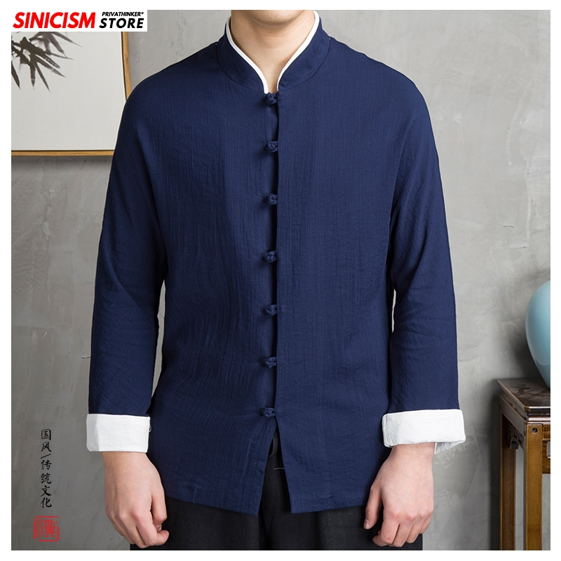 Sinicism Store 2020 Men's Solid Buckle Spring Shirts Men Long Sleeve Chinese Style Shirt Male Fashion Cotton Linen Loose Shirts