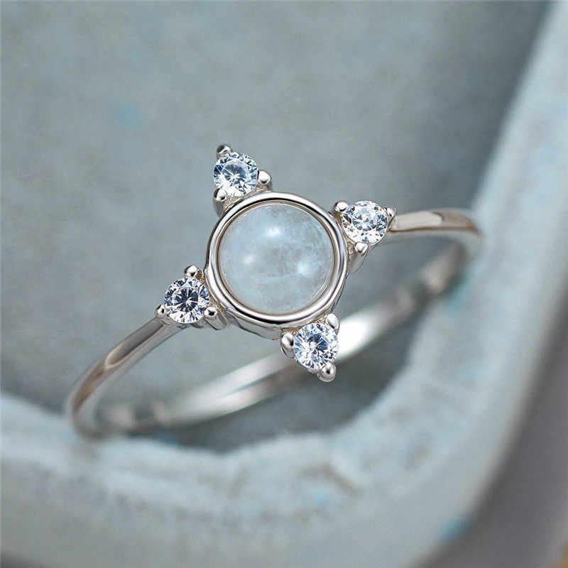 יוקרה נקבה אמיתי עגול טבעי מונסטון טבעת 100% 925 סטרלינג כסף חתונת טבעות לנשים חמוד אהבת אירוסין טבעת