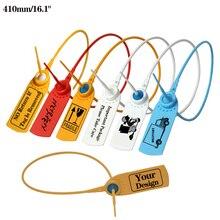 "410mm/16.1 ""חד פעמי פלסטיק אבטחה חותמות Custom בגד תג כבלים תווית עבור לוגיסטיקה מיכל בגדי שקיות 1000Pcs"