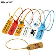"""Sellos de seguridad desechables de 410mm/16,1 """", etiqueta de la ropa personalizada, etiqueta para atar cables para contenedor logística, bolsas de ropa, 1000 Uds."""