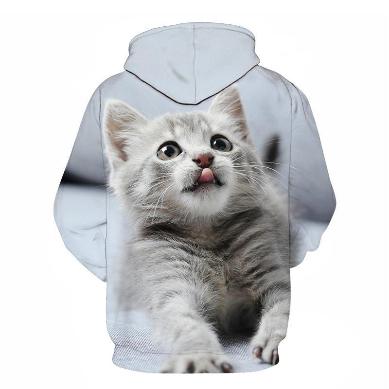 Women's Two Cat Sweatshirts Long Sleeve 3D Hoodies Sweatshirt Pullover Tops Blouse Pullover Hoodie Poleron mujer Confidante Tops 98