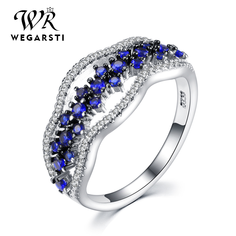 WEGARASTI Silver 925 Jewelry Ring Blue Sapphire Zircon Natural Gemstone 925 Sterling Silver Rings Jewelry Woman Engagement Gift