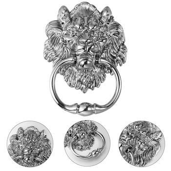 1 pc Front Door Handle Antique Silver Tone Lion Head Zinc Alloy Pull Ring Door Knocker Door Handle for Drawer Cabinet 5