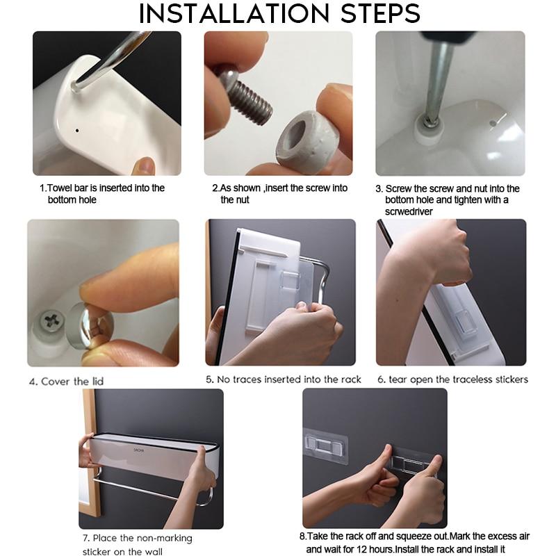 Bathroom Shelf Shower Caddy Organizer Wall Mount Shampoo Rack With Towel Bar No Drilling Kitchen Storage Bathroom Accessories 6