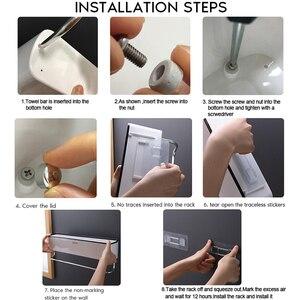 Image 5 - Полка органайзер для ванной и душа, настенная полка для шампуня с держателем для полотенец, без сверления, Кухонное хранилище, аксессуары для ванной комнаты