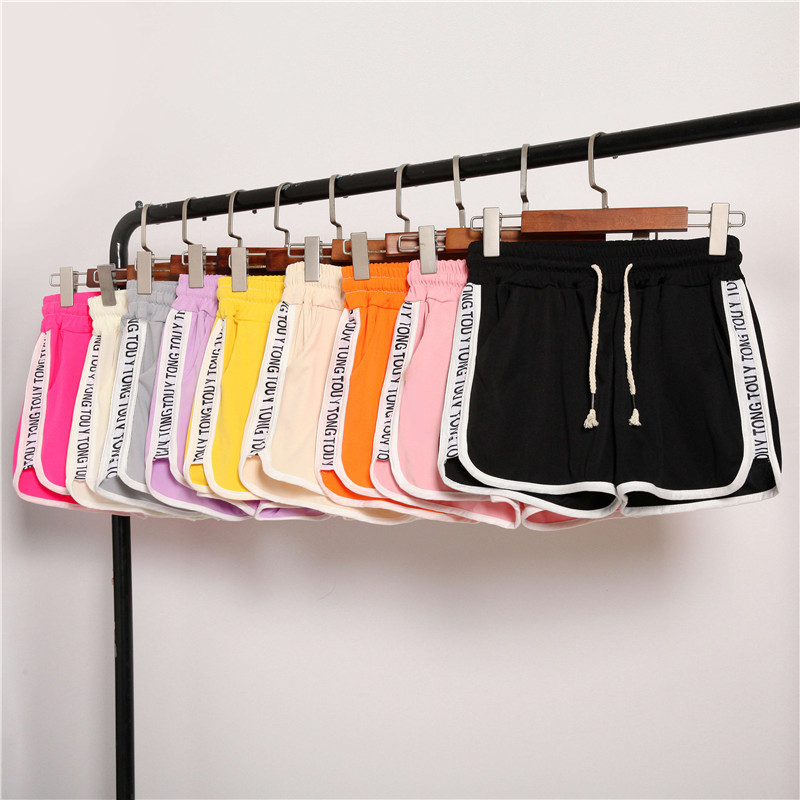 Casual Shorts  Women's Fashion High Waist Loose Letters Printed Shorts Patchwork Body Fitness Workout Summer Shorts Female