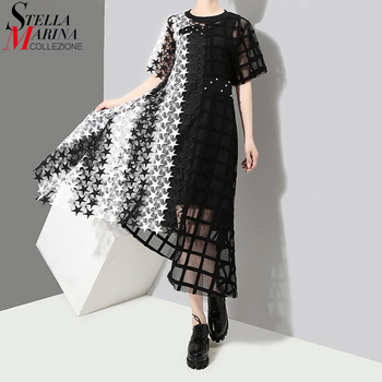 Summer Woman Black White Transparent Stylish Lace Dress Hollow Out Lady Night Party Sexy Asymmetrical Club Robe Femme 3517 - discount item  35% OFF Dresses