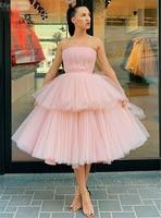 Rose Pink Cocktail Dress 2020 Tiered Two Layers Knee Length Strapless Boat Neck Sleeveless Homecoming Dress платья знаменитостей