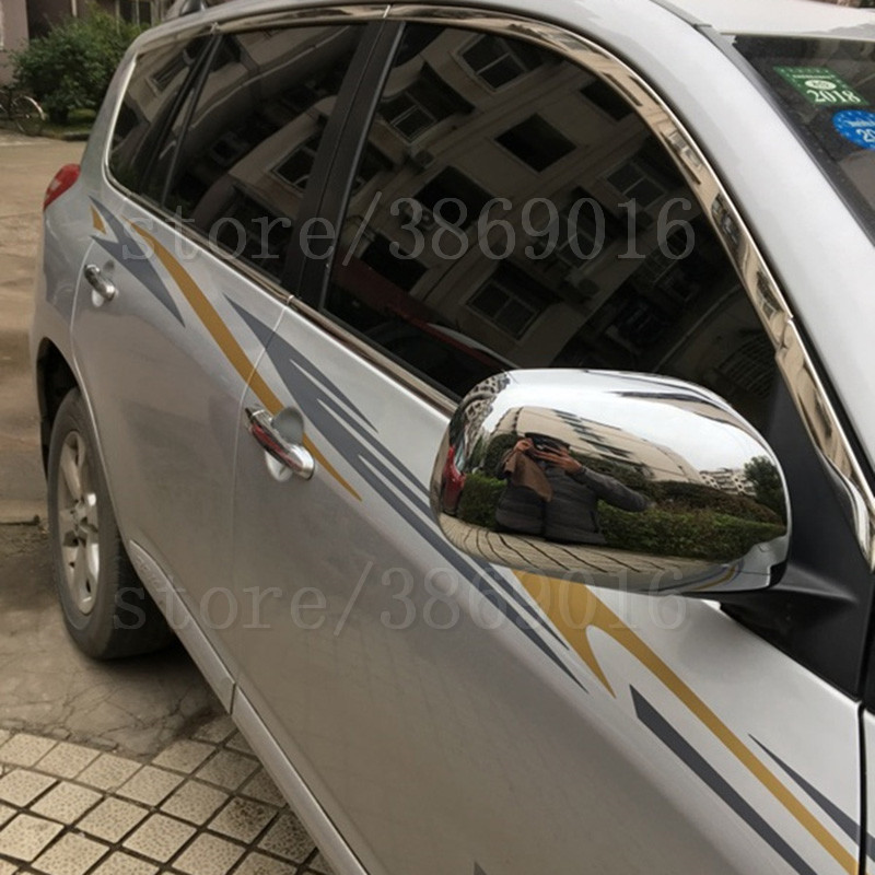 CHROME DOOR SIDE WING MIRROR CHROME COVER CAP REAR VIEW TRIM <font><b>ACCESSORIES</b></font> FIT FOR TOYOTA <font><b>RAV4</b></font> 2006 2007 2008 2009 <font><b>2010</b></font> 2011 2012 image