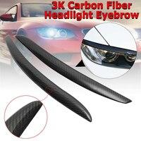 1Pair Real Carbon Fiber Headlight Lid Eyebrow for BMW E92 E93 335I 335CI Model 2007 2012 Eyelids Trim Cover