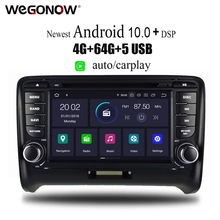 PX6 DSP Android 10 6 rdzeń 4GB RAM 64GB ROM samochodowy odtwarzacz DVD odtwarzacz GPS mapa Bluetooth 5 0 RDS Radio wifi MIC dla Audi TT 2006 #8211 2015 tanie tanio CN (pochodzenie) podwójne złącze DIN 4*50W System operacyjny Android 10 0 DVD-R RW DVD-RAM VIDEO CD JPEG Plastic Steel