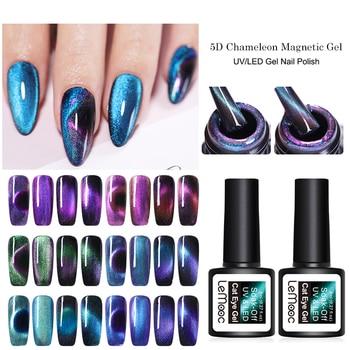 LEMOOC 5D Chameleon Magnetic Gel Nail Polish sparkly Sky Jade Effect Cat Eye Gel Soak Off UV Laser Gel Varnish Black Base Needed