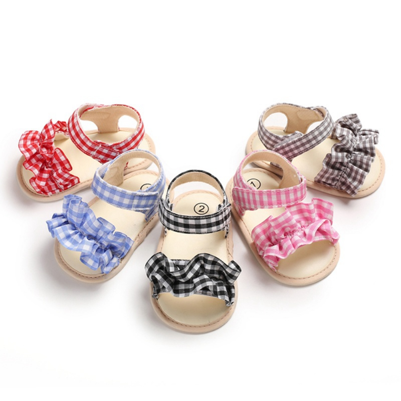 Baby Summer Baby Sandals Girls Breathable Plaid Print Anti-Slip Shoes Sandals Toddler Soft Soled First Walkers