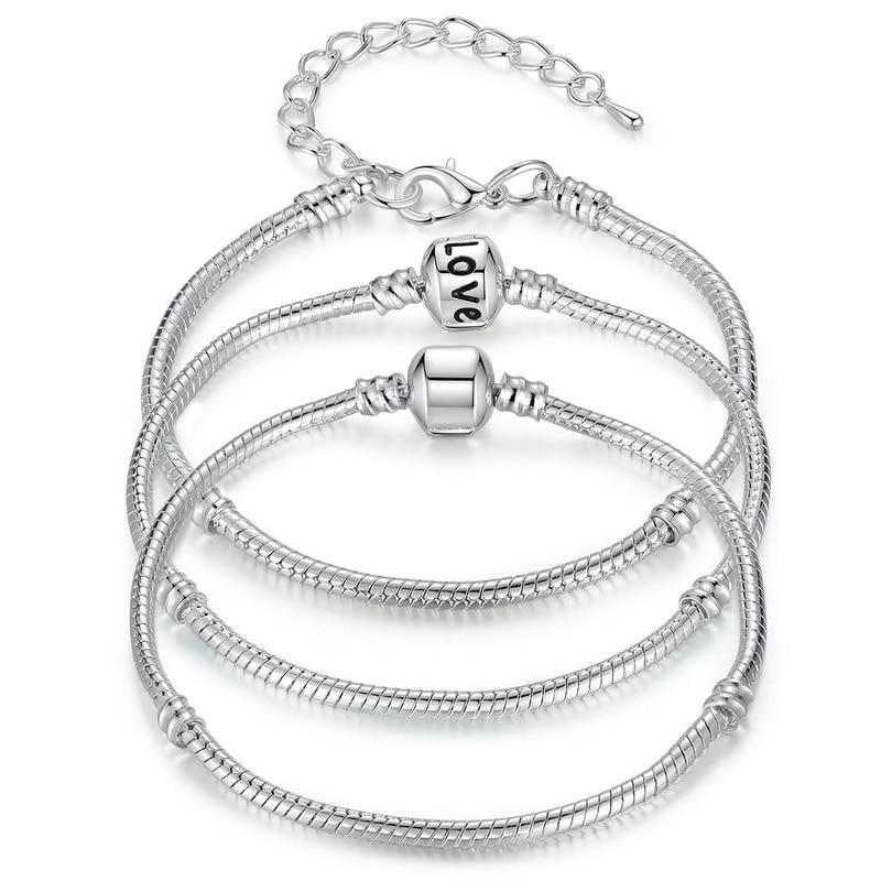 BAMOER 5 Style Silver Color LOVE Snake Chain Bracelet & Bangle 16CM-21CM Pulseras Lobster PA1104(China)