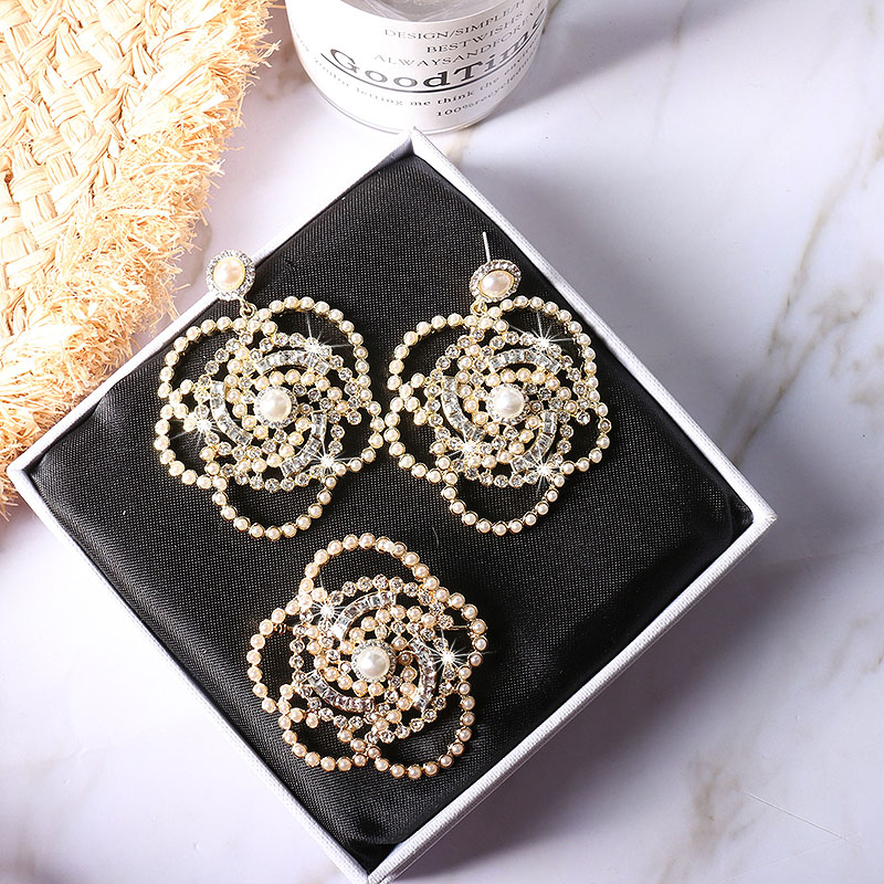 Trendy Design Crystal Pearl Flower Earring Jewelry For Women Party Wedding