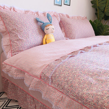 Quilt cover four-piece bed cover cotton pink princess style cotton sheets quilt cover four-piece bed