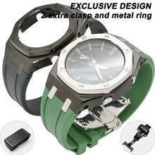 NEWEST Rubber Ga2100 3rd Metal Bezel Watch Strap Mod Case Butterfly Clasp WatchBand for GA-2100/2110 Wristband Bracelet 2 Clasps