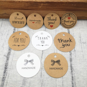 100PCS Kraft Paper Gift Tags Thank you Paper Labels For Price DIY Crafts Clothing Garment Tags Wedding Decoration hemp string