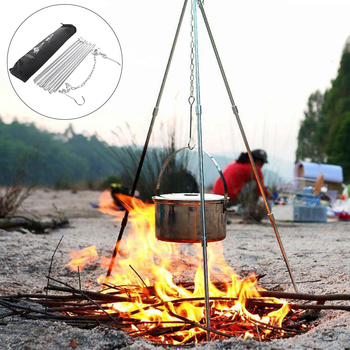 Outdoor Camping Cooking Set Portable LWater Kettle Picnic Tripod BBQ Pot Stove Equipment D30