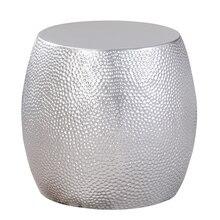 Серебряный барабан, скандинавский столик, креативное украшение для дома, современный минималистичный столик для гостиной, угловой столик для мобильного телефона